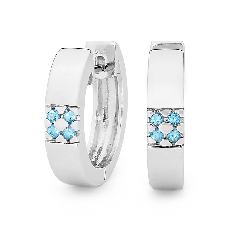 Silver Huggies with Blue Topaz