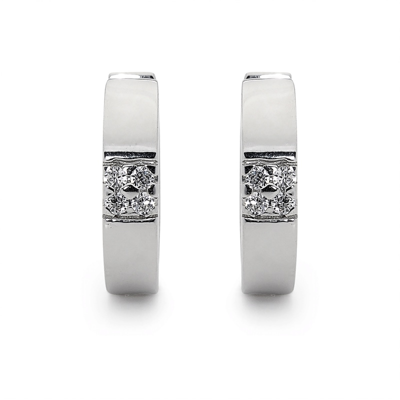 Silver Huggie Earrings with a Touch of Glitter