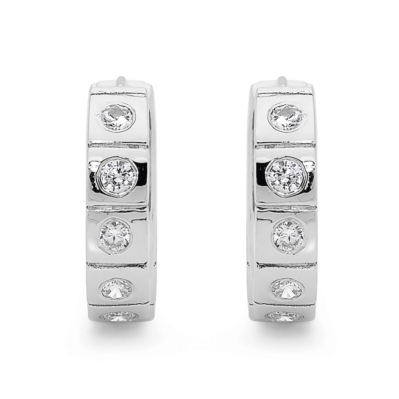 Silver Huggie Earrings with Bling