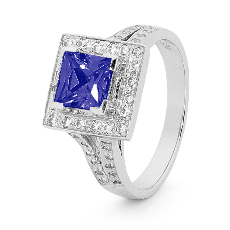 Princess Cut Sapphire and CZ Ring