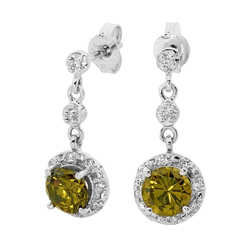 Peridot Coloured CZ Silver Earrings