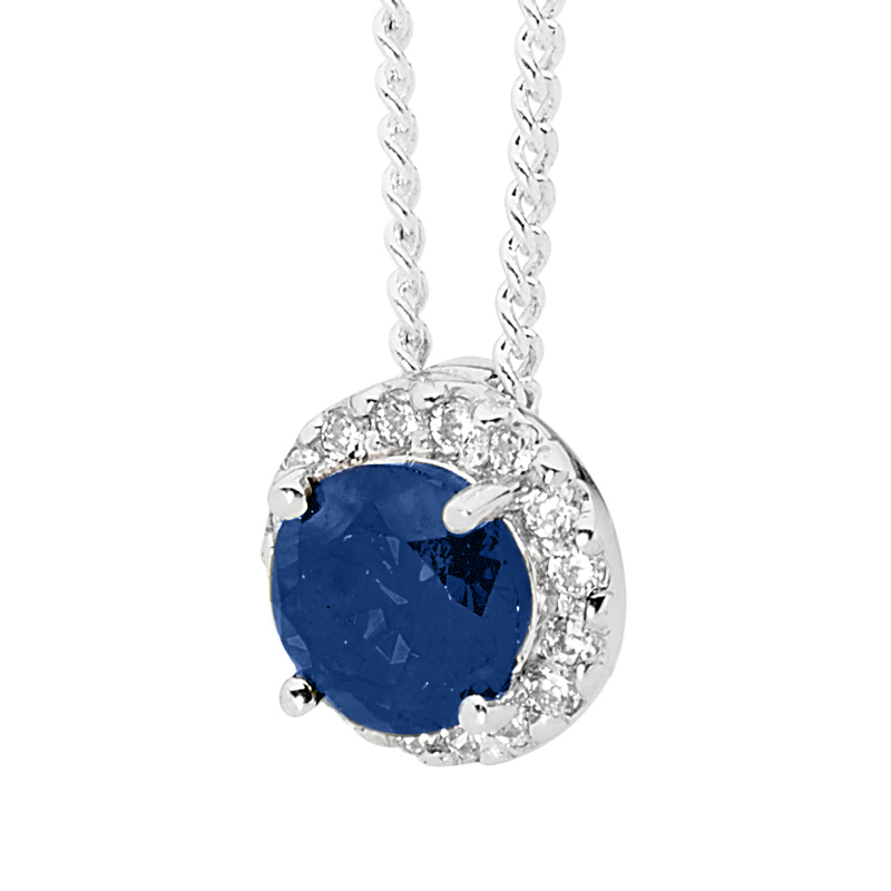 Sterling Silver Pendant with Sapphire