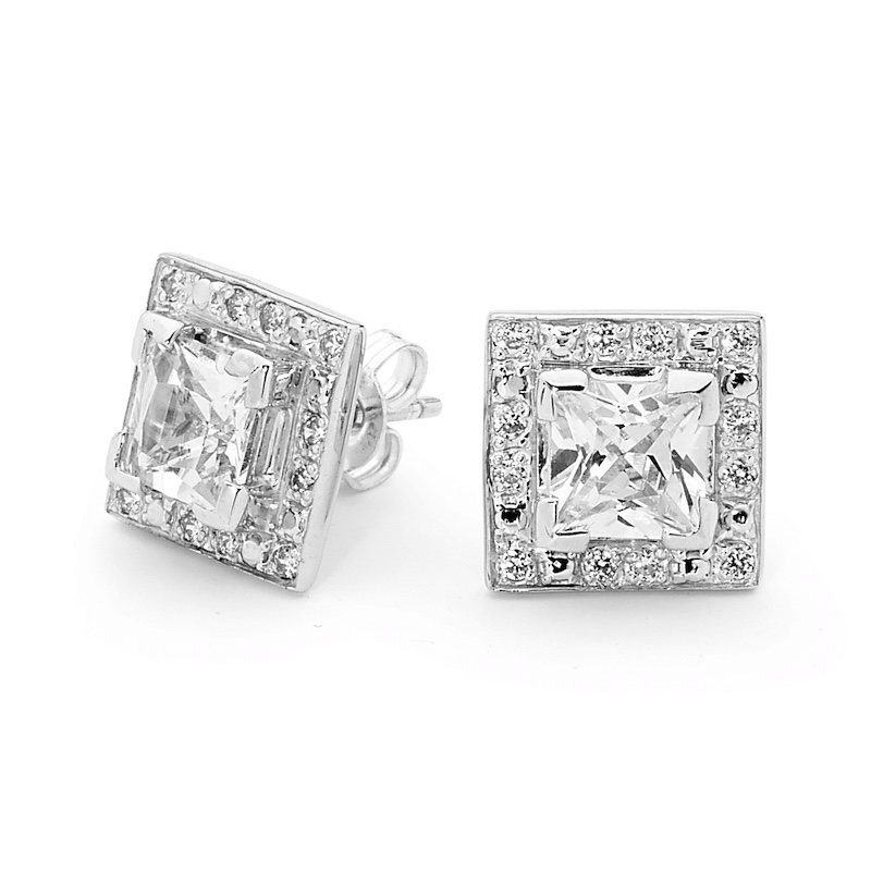 Princess Cut CZ Celebrity Style Earrings