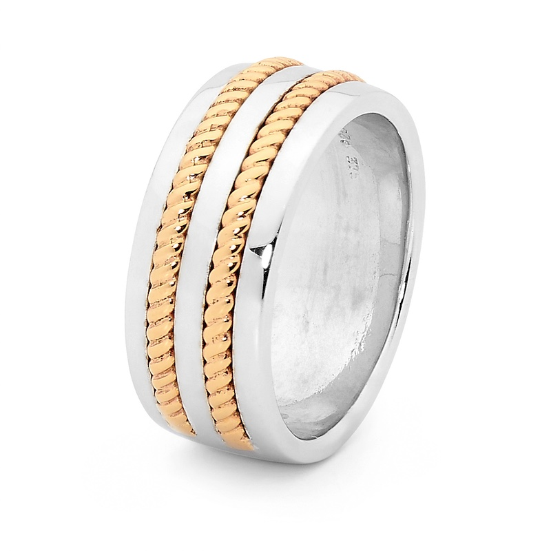 Mens Dress Ring with Gold Braid Inlay