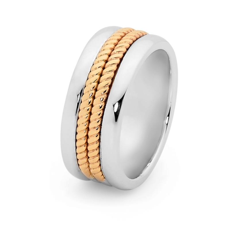 Mens Ring with Solid Gold Inlay