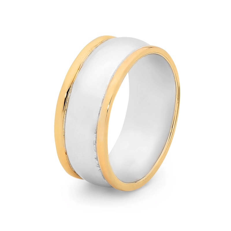 Mens Ring with Solid Gold Sides