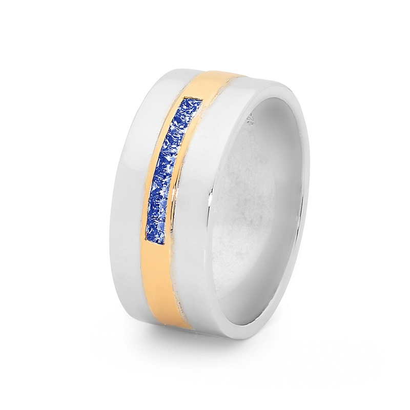 Mens Dress Ring with Gold Inlay
