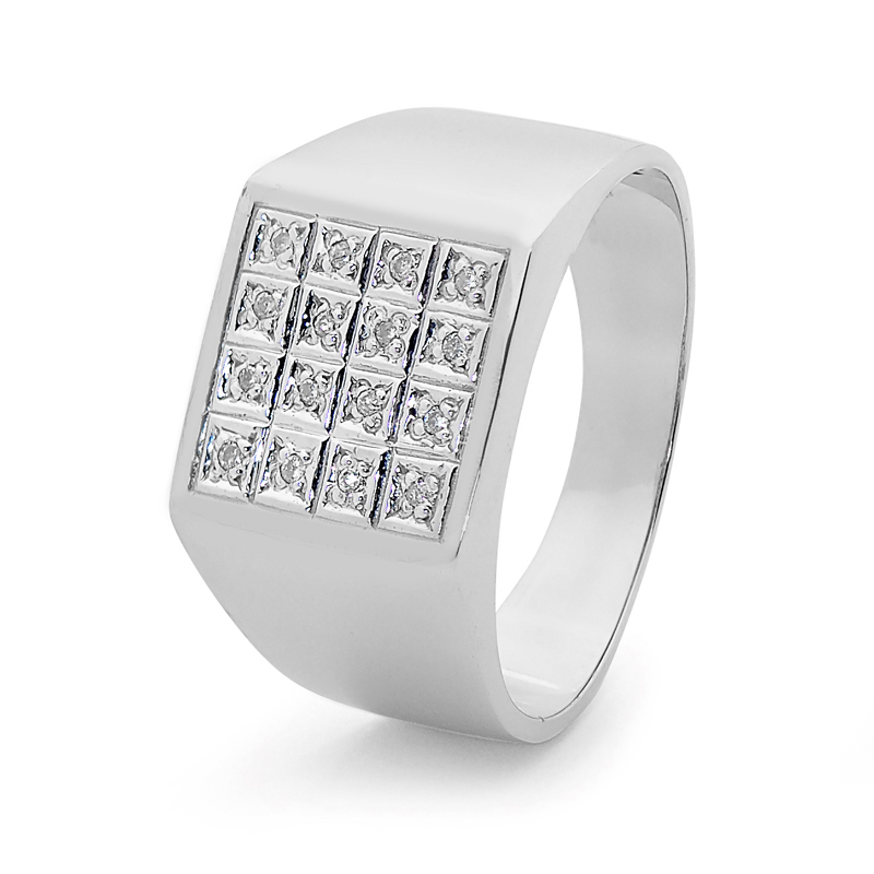 Mens Table Top Silver Ring with CZ