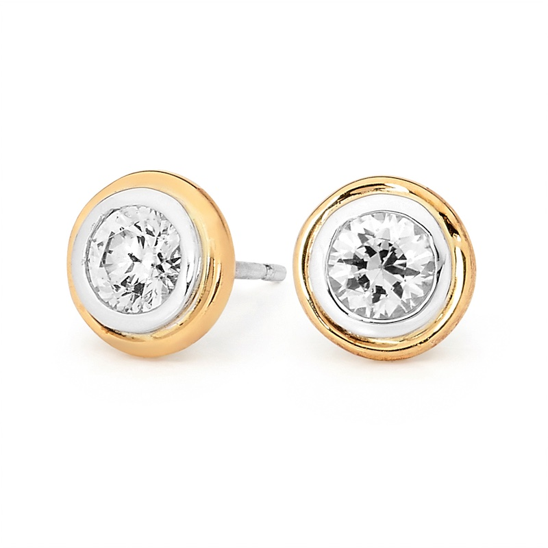 Silver and Solid Gold Stud Earrings with CZ