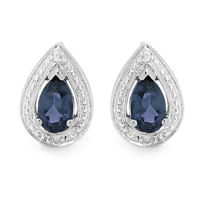 Silver Earrings with Blue Sapphire Gems