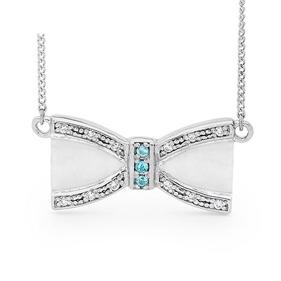 Silver Bow Necklace with Blue Topaz