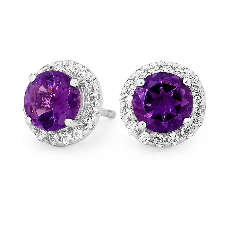 Amethyst and Zirconia Dress Earrings