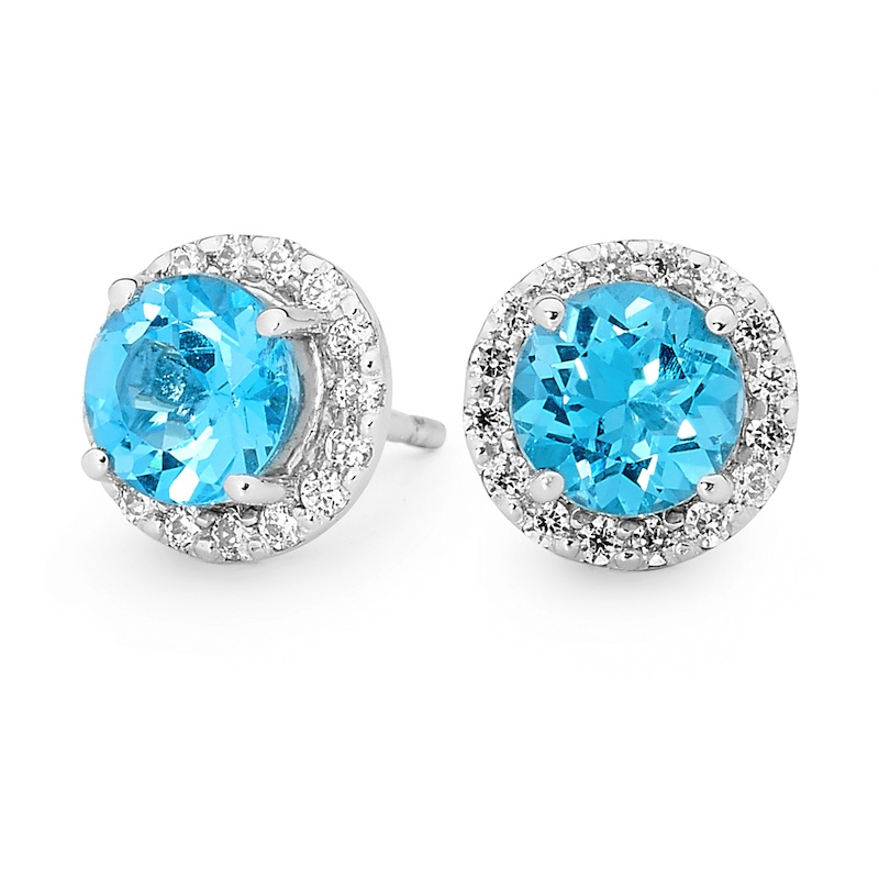 Silver earrings with Swiss Blue Topaz and CZ