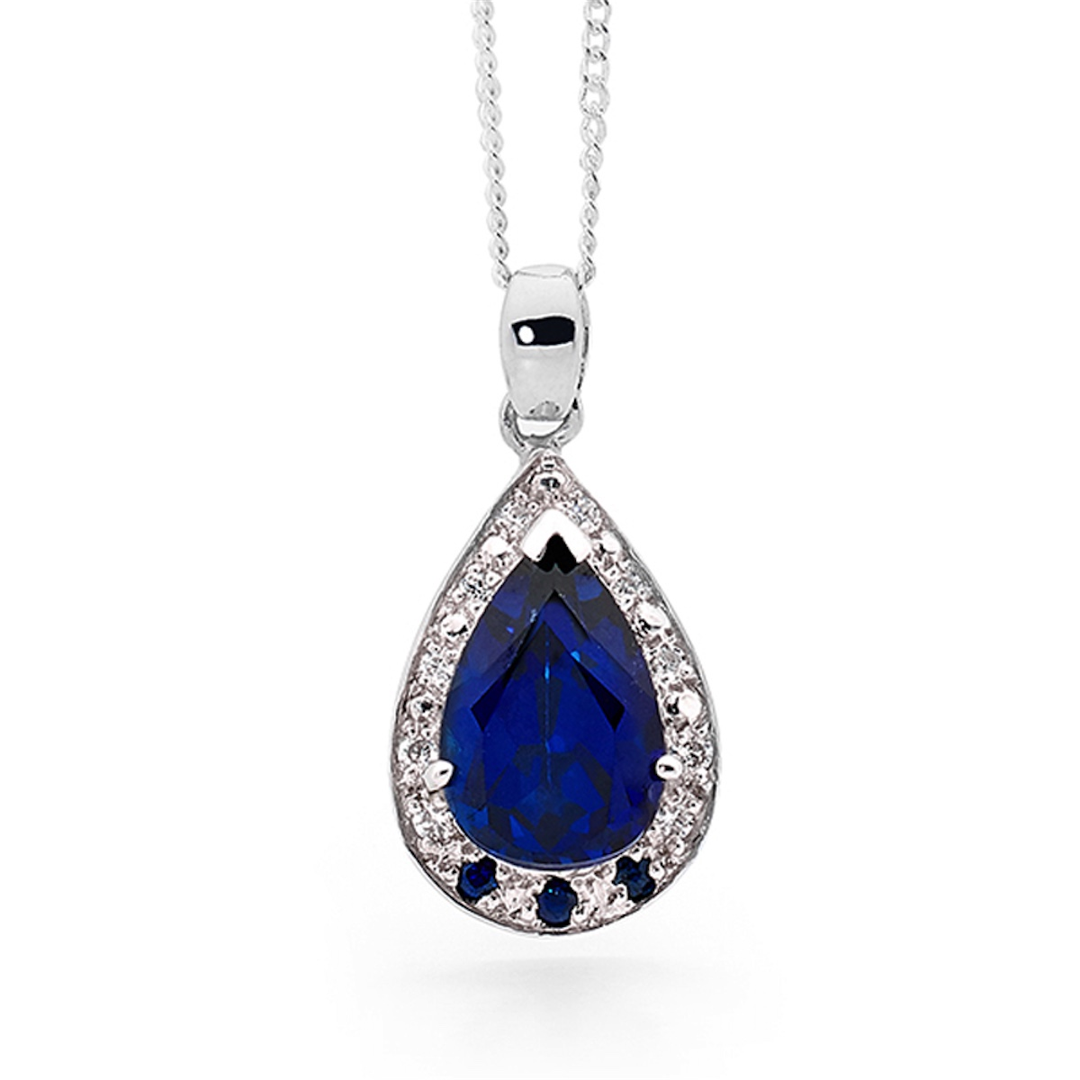 Royal Blue Sapphire and CZ Pendant