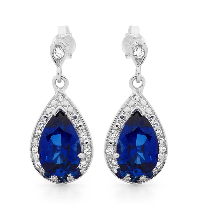 Opera Style Teardrop Earrings with Created Sapphire