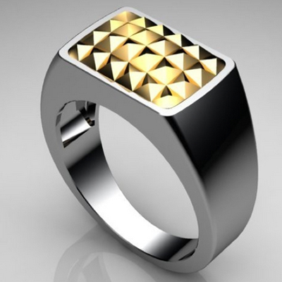 Gold Studded Mens Ring - Tough
