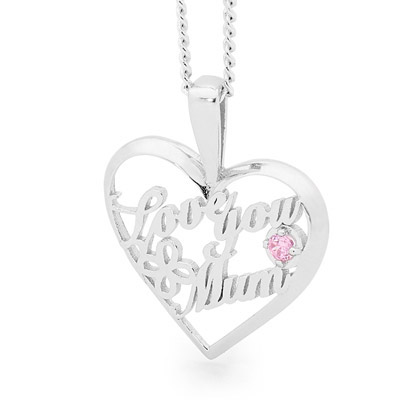 "Silver ""Love You Mum"" Pendant"