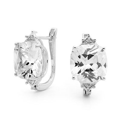 Silver Earrings with Large Cushion Cut Gem
