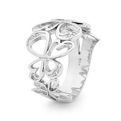 Silver Angel Ring with Cubic Zirconia