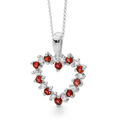 20 Stone Heart Pendant with Rubies