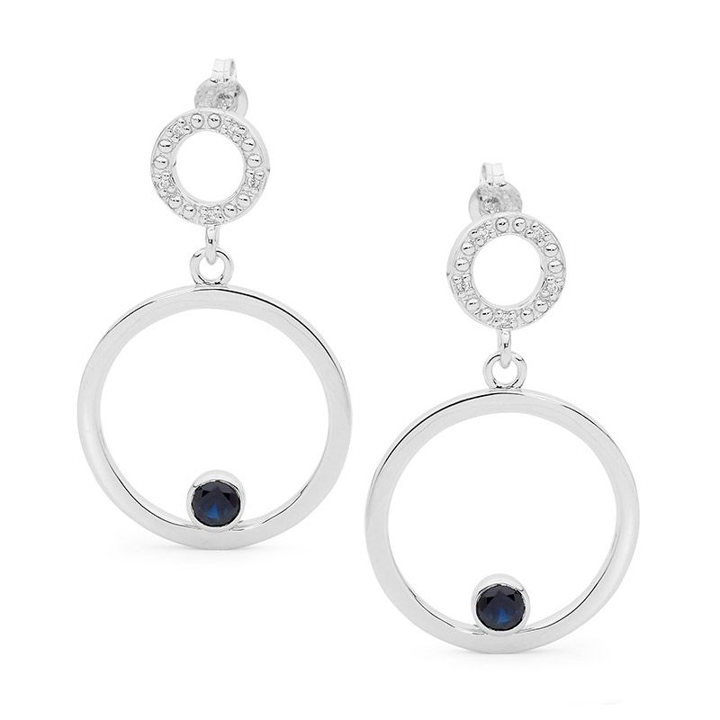 Silver Earrings with Sapphire and CZ
