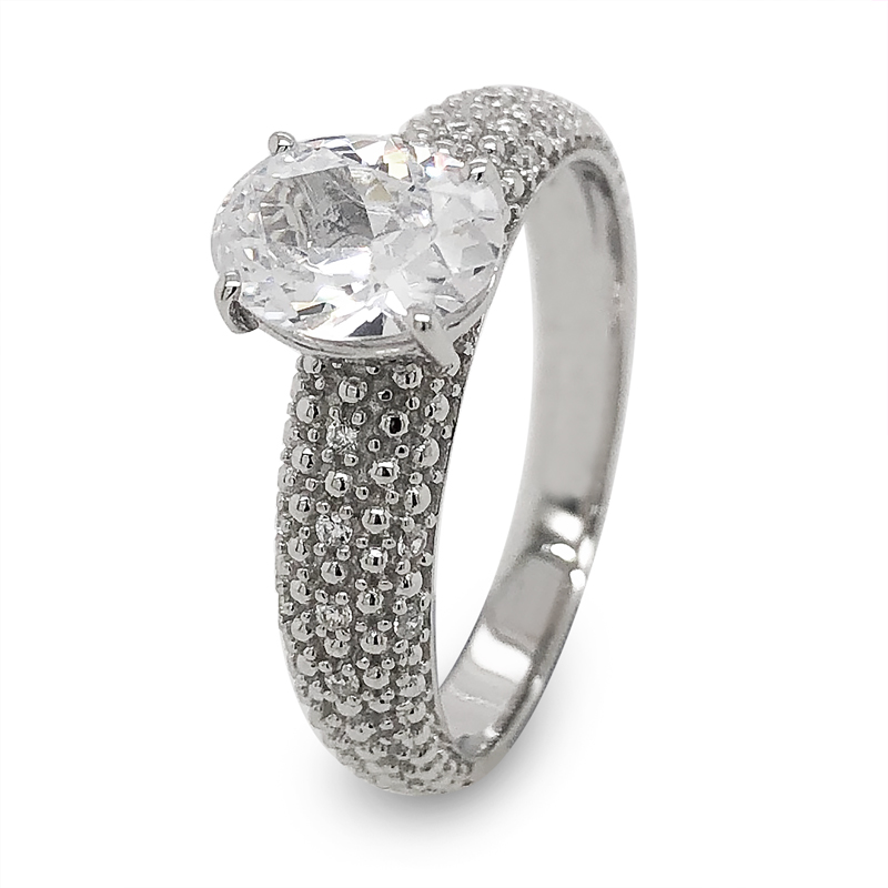 Sterling Silver Dress Ring with CZ