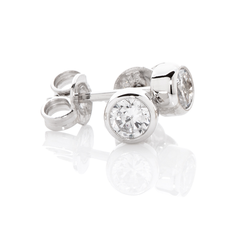 Sterling Silver Ear Studs with 3.0 mm CZ