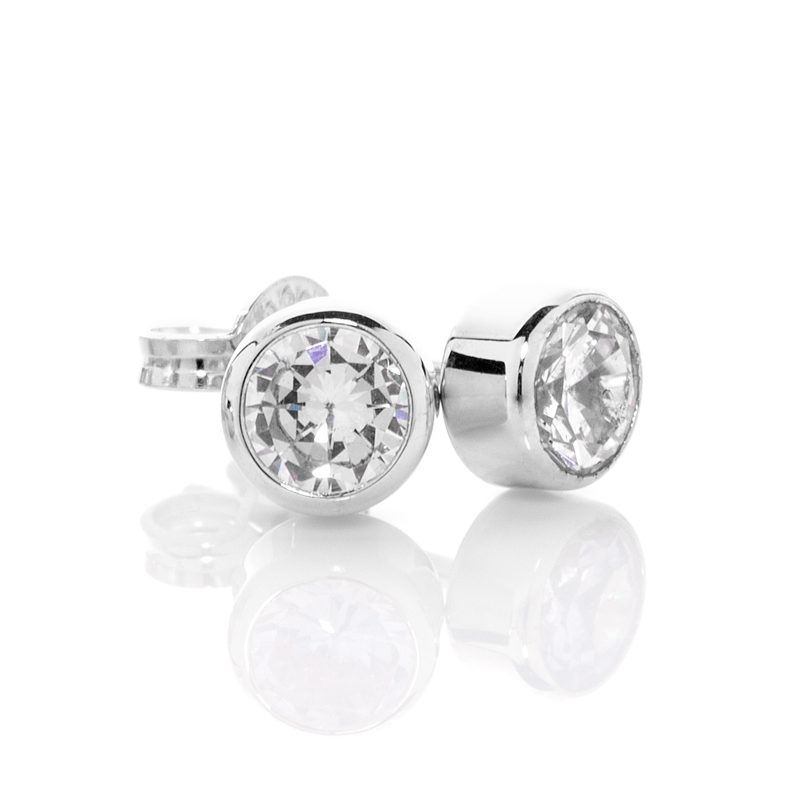 Sterling Silver Earrings with 5.0 mm CZ