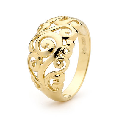 Gold Fashion Ring with Swirls - Size W
