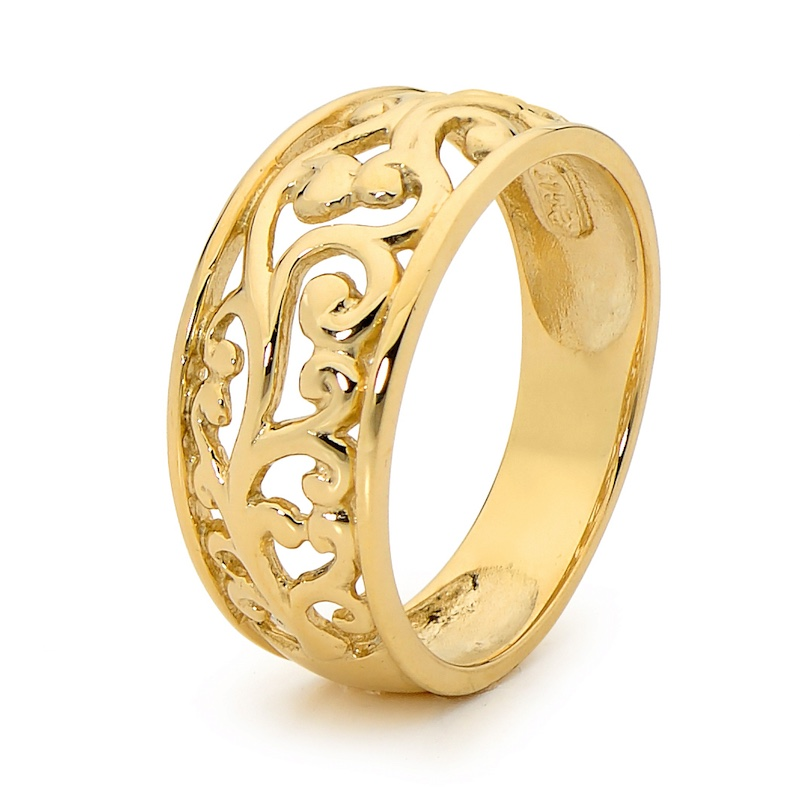 Gold Ring Wide Band Grape Vine