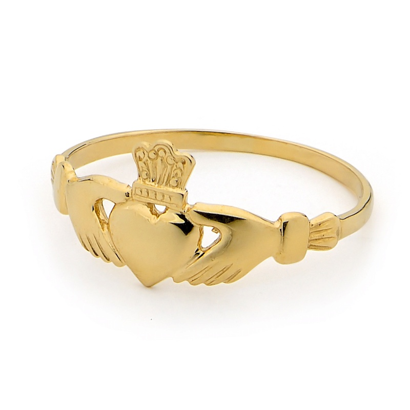 Irish Claddagh Ring - Yellow Gold - Fine