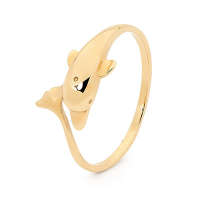 Gold Ring - Playful Dolphin