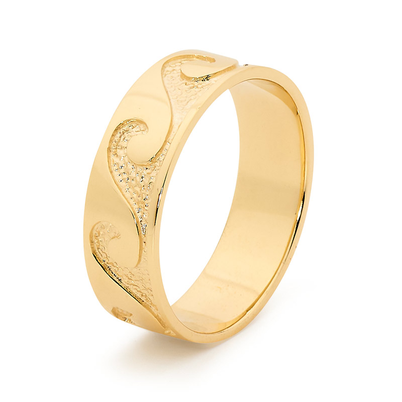 Gold Ring - Surf Pattern