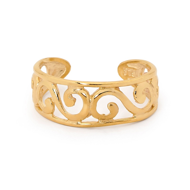 Gold toe ring with waves