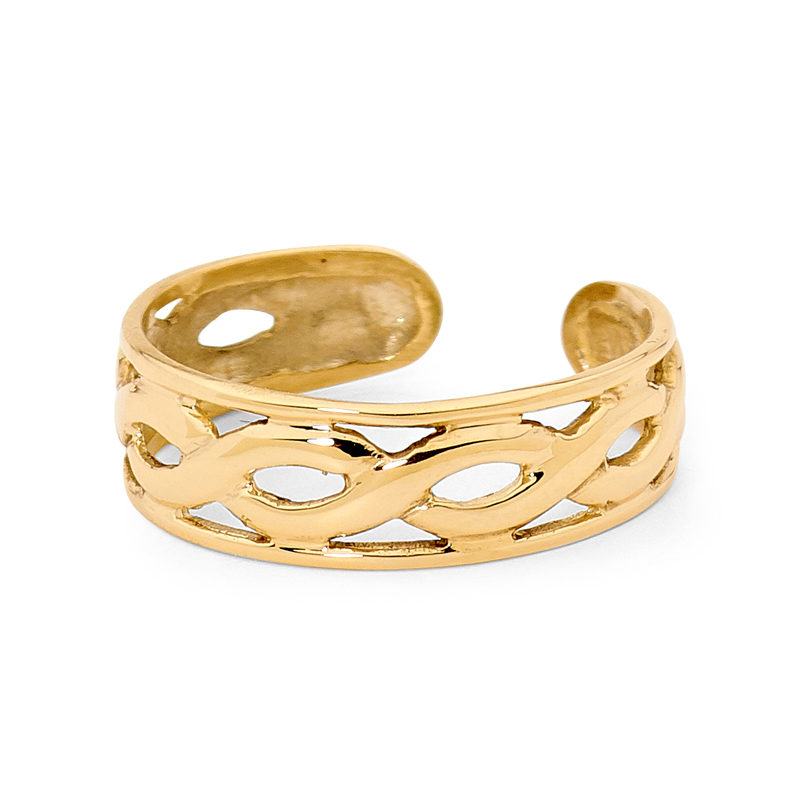 Gold Toe Ring with Plait