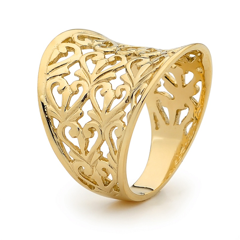 Gold Ring - Wide Band - Filigree