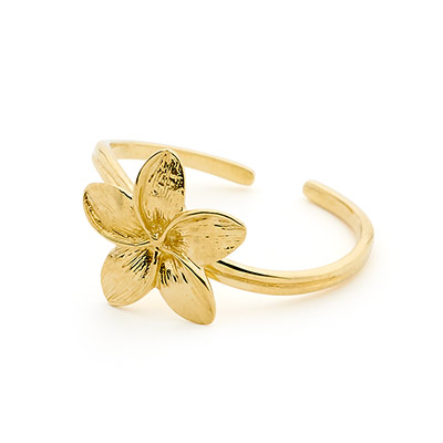 Gold Toe Ring with Frangipani