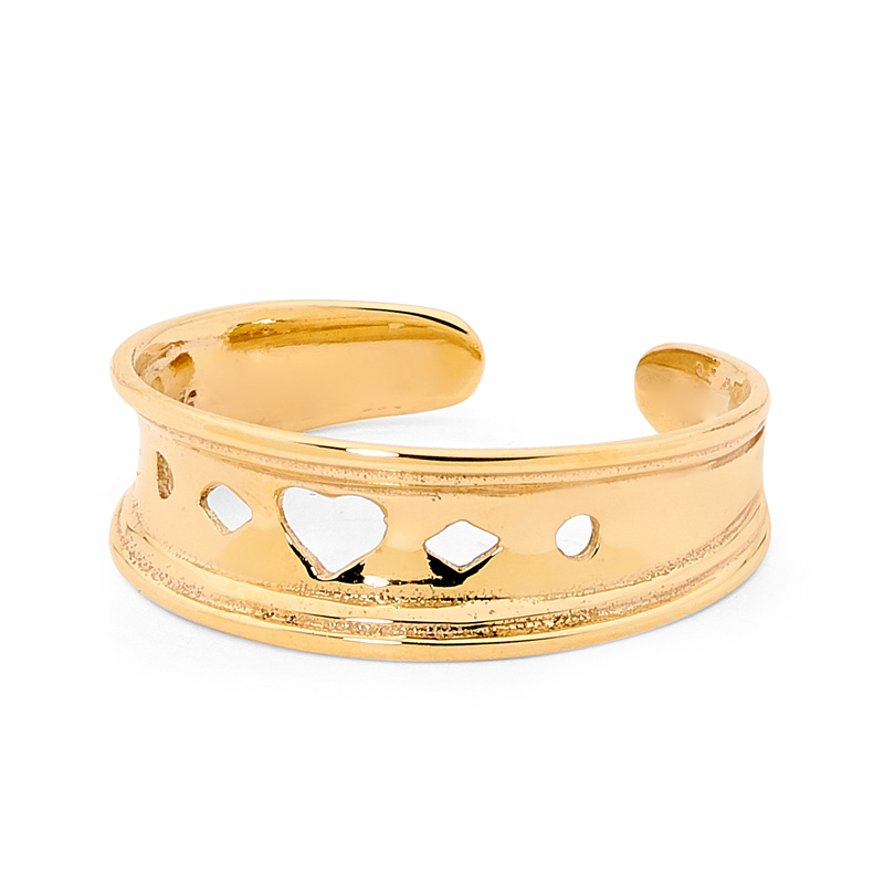 Gold Toe ring with heart pattern