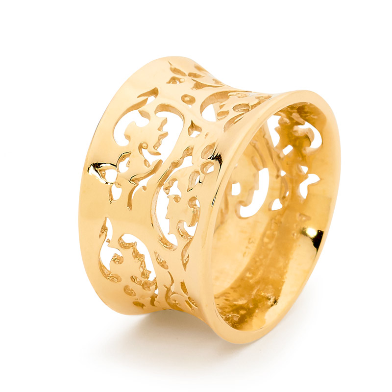 Flaired Gold Ring with Floral Pattern