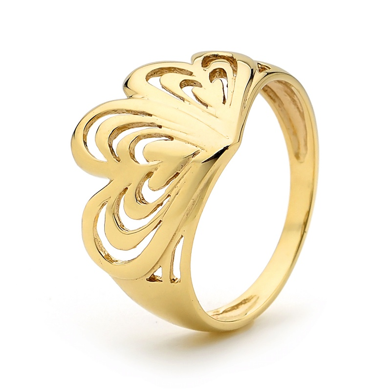 Butterfly Heart Gold Ring