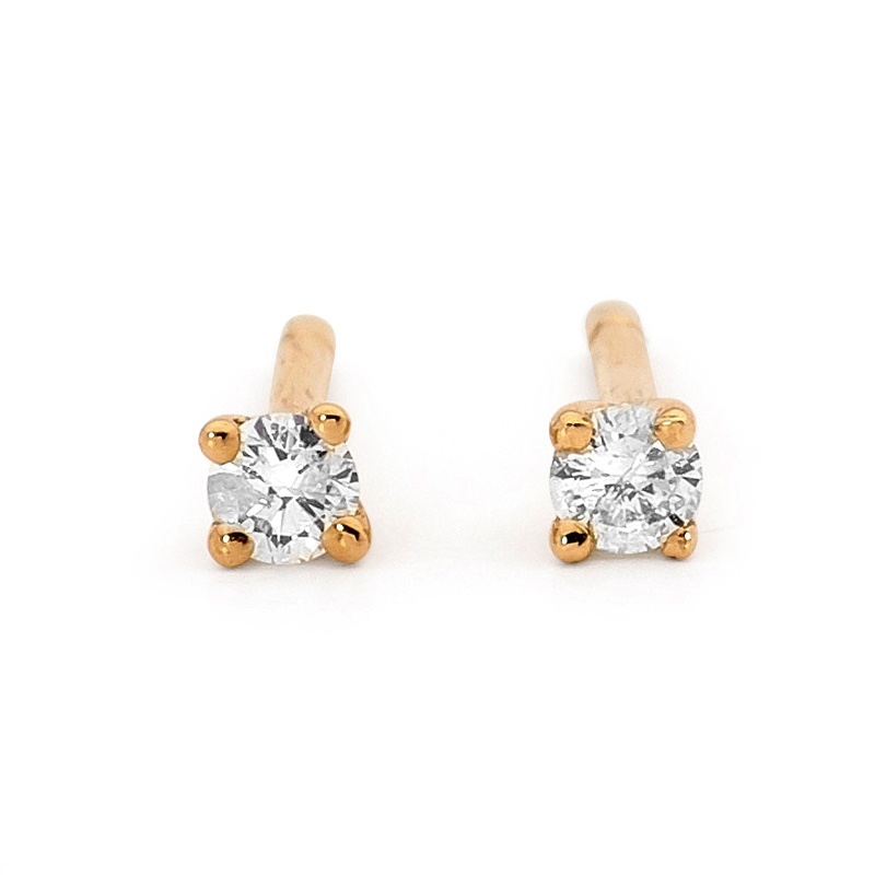 Diamond Solitaire Stud Earrings - 0.14 Carat (TDW)