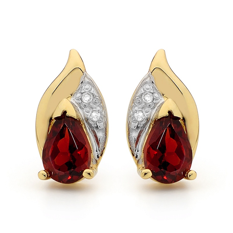 Garnet and Diamond Petal Earrings
