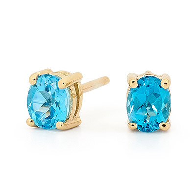"Blue Topaz Stud Earrings ""Classic"""
