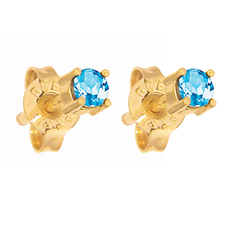 Blue Topaz Stud Earrings 3.0 mm