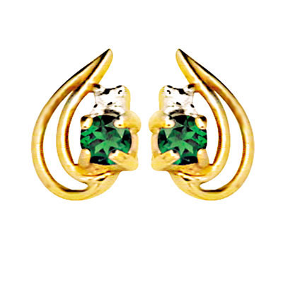 9 ct. gold created Emerald leaf earrings