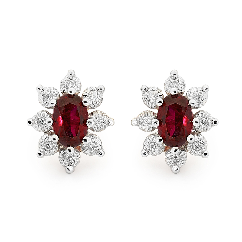 Earrings Ruby cluster 9 ct.gold