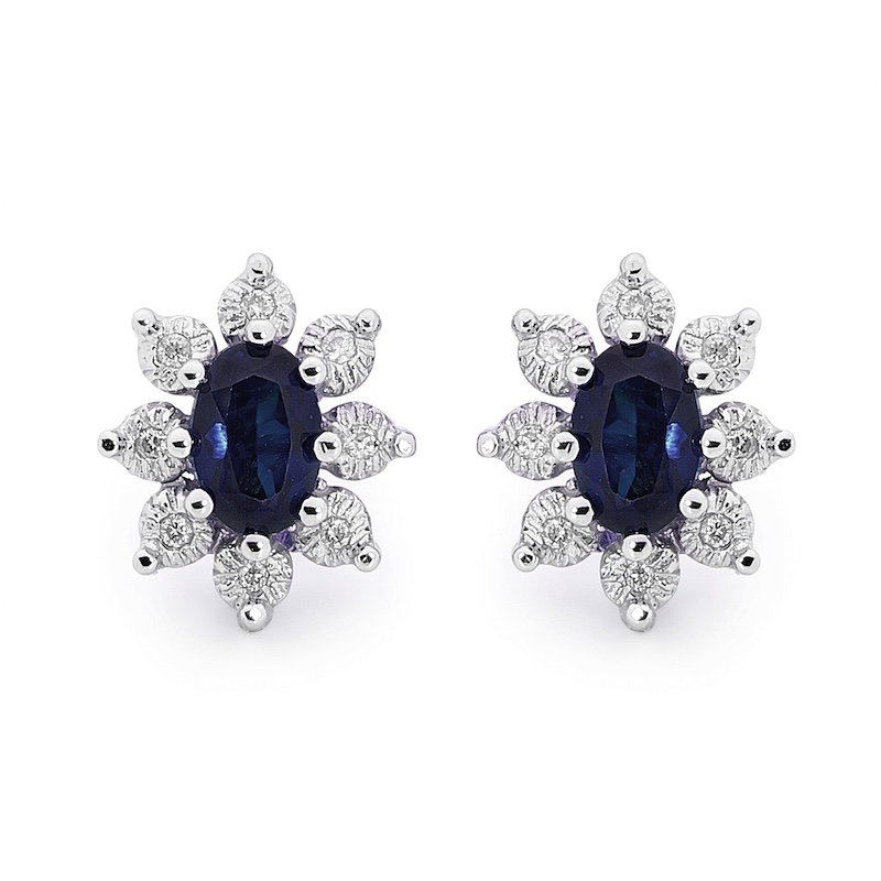Australian Sapphire and Diamond Earrings