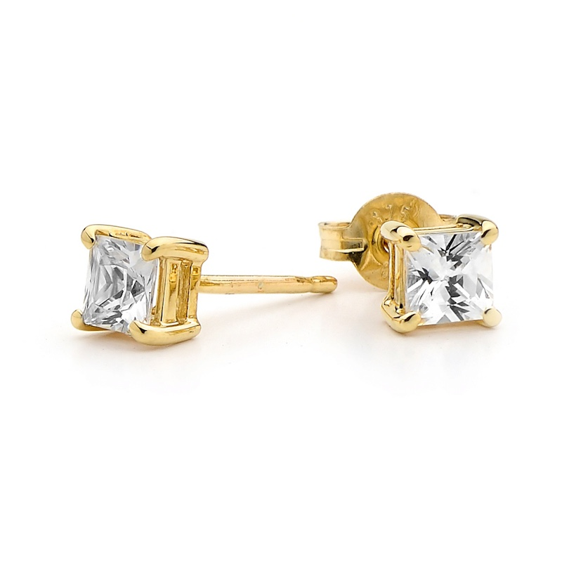 Princess Cut Cubic Zirconia Studs
