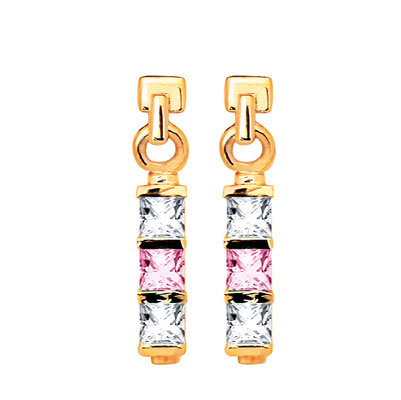 Pink and White Zirconia Earrings