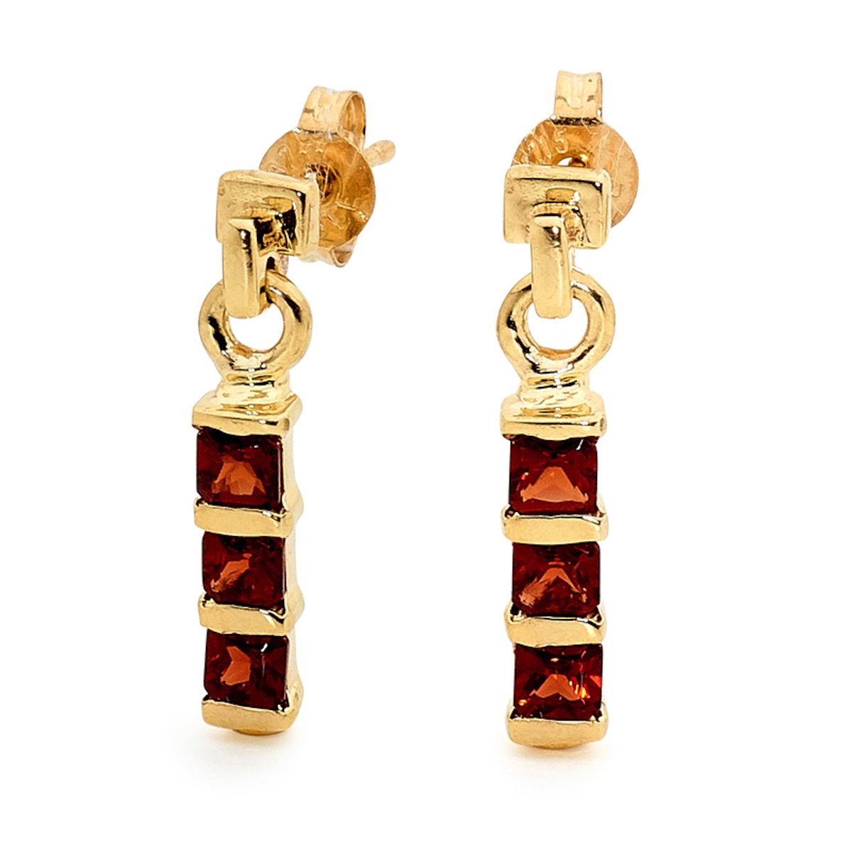 Oblong Garnet Drop Stud Earrings